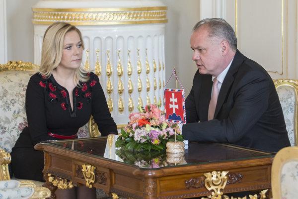 Ministerka vnútra Denisa Saková a prezident Andrej Kiska.