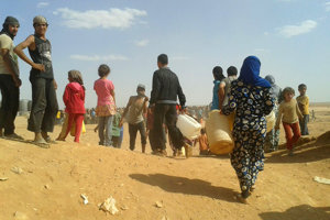 Utečenci v tábore Rukban.