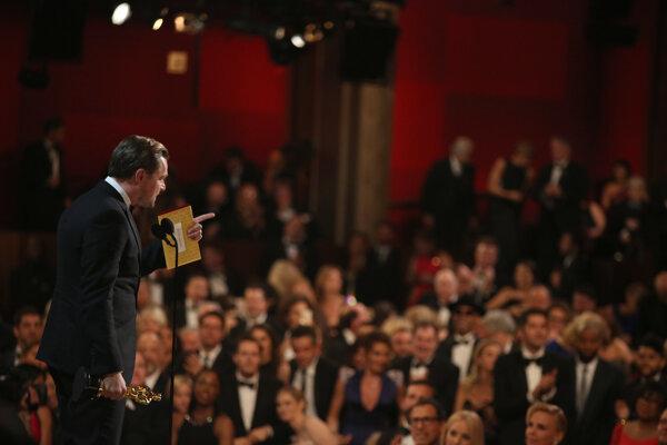 Leo DiCaprio počas ďakovnej reči.