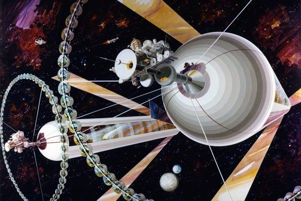 Umelecká predstava o valcovitých kolóniách, ktoré navrhol fyzik Gerard K. O'Neill.