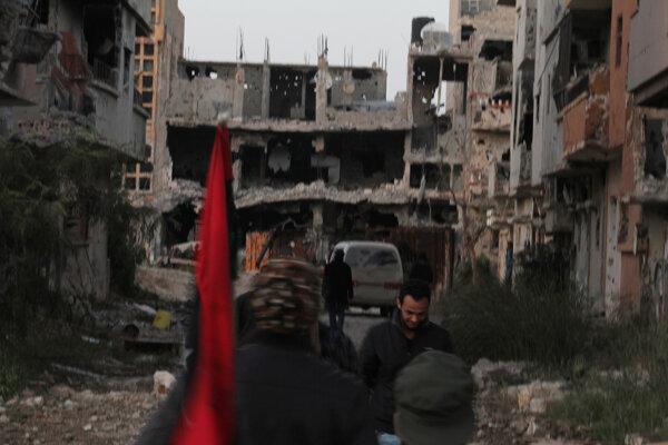 Zničené budovy v meste Benghazi.