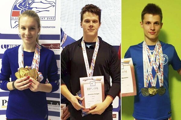 Zľava Viktória Forster (ŠK ŠOG Nitra), Jaroslav Greguš (AC Stavbár Nitra) a Patrik Dömötör (Olympia Galanta).