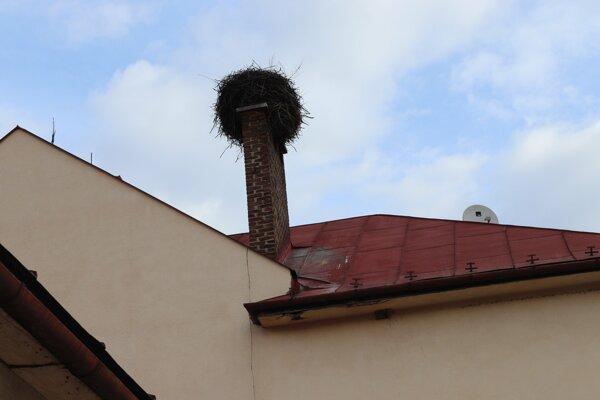 Bocianie hniezdo na komíne Materskej školy v Novej Ľubovni.