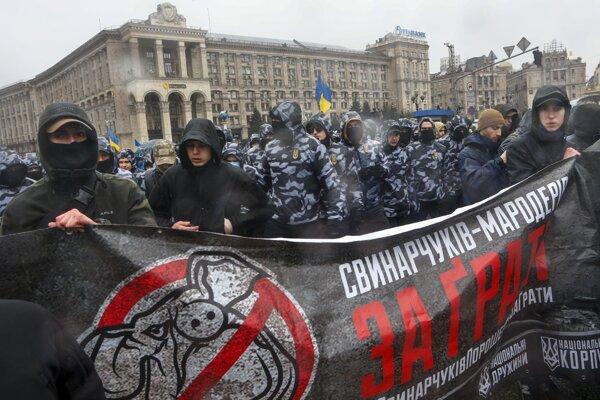 Na Ukrajine protestovali nacionalisti.