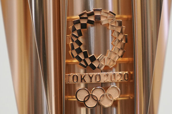 Na snímke detail na olympijskej pochodni pre Letné olympijské hry 2020 v Tokiu.