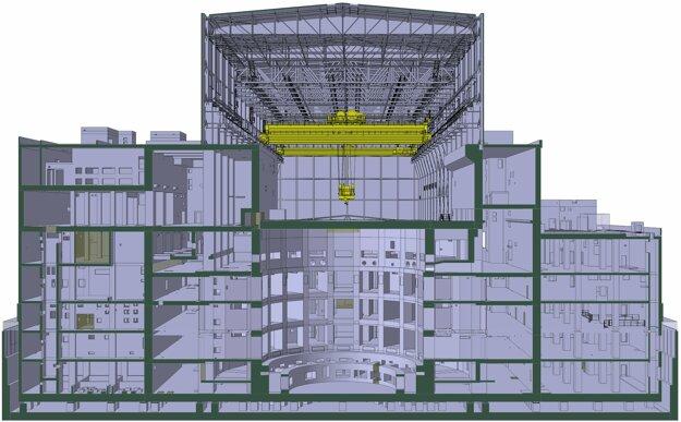 prierez budovou komplexu Tokamak v experimentálnom reaktore ITER.