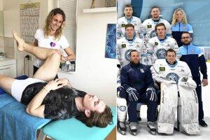 Lenka Skaličanová patrí od tejto sezóny do realizačného tímu HK Nitra. Na snímke vľavo je pri práci v regeneračnom centre Skalka, ktoré založila. Na terapiu práve prišiel Samuel Buček.