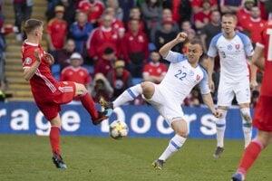 Momentka zo zápasu Wales - Slovensko v kvalifikácii EURO 2020.