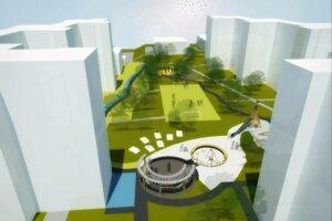 Vizualizácia revitalizácie vnútrobloku na sídlisku Juh.