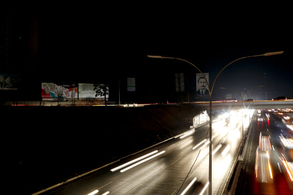 Zhasnuté osvetlenie v Caracase.