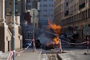 Výbuch plynu na Gorkého ulici.