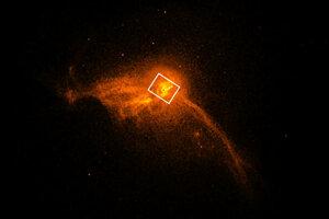 Záber na jadro galaxie M87, v ktorej vedci prvýkrát odfotili čiernu dieru.