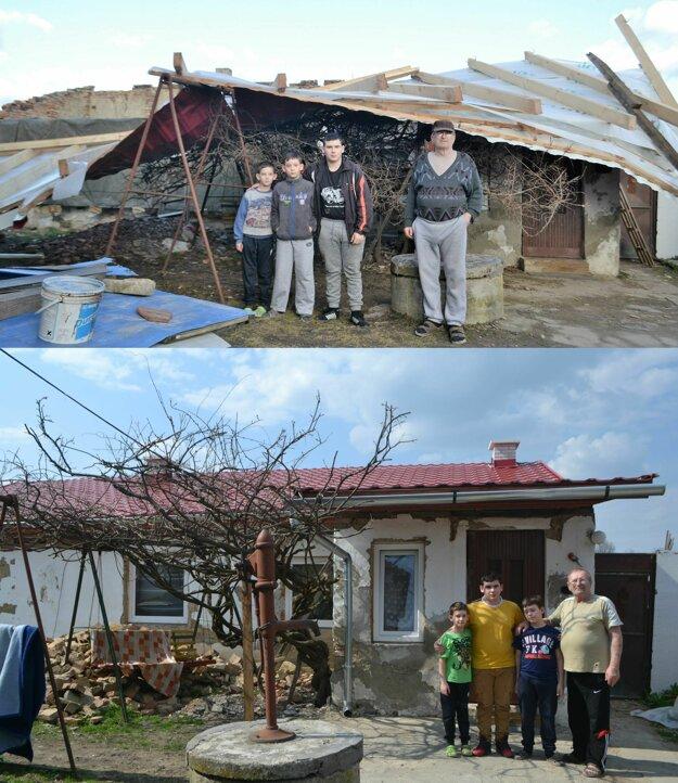 Starký Jozef Varga a jeho vnukovia majú z novej strechy veľkú radosť.