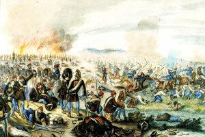 Bitka pri Tekovských Lužanoch v 1849, akvarel Móra Thana.