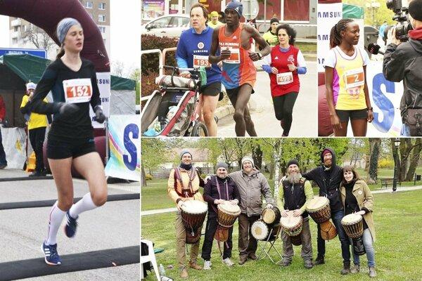 Zľava Veronika Zrastáková, víťazná dvojica kenských bežcov a dolu skupina Djembe picnic band.
