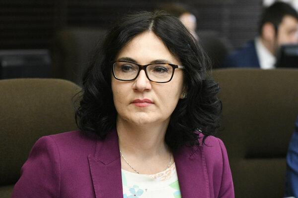 Ministerka školstva, vedy, výskumu a športu SR Martina Lubyová počas rokovania 152. schôdze vlády SR.