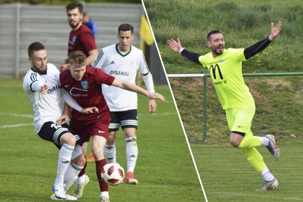 Vľavo snímka z duelu Alekšince - Zbehy. Vpravo Michal Béger z Lapáša, ktorý na jar nastrieľal už 13 gólov. Do čierneho trafí priemerne každých 60 minút!