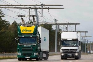 Elektrická diaľnica pre kamióny v Nemecku.