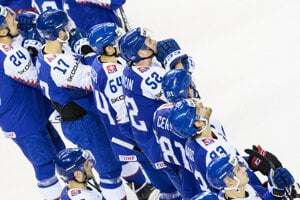 Hokejisti Slovenska po zápase s Kanadou na MS v hokeji 2019.