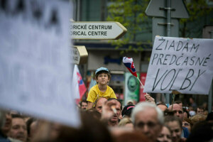 Minuloročné protesty po vražde Jána Kuciaka a Martiny Kušnírovej.