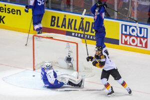 Momentka zo zápasu Slovensko - Nemecko na MS v hokeji 2019.