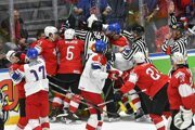 Bitka v zápase základnej B-skupiny Česko - Švajčiarsko na MS  v hokeji 2019.