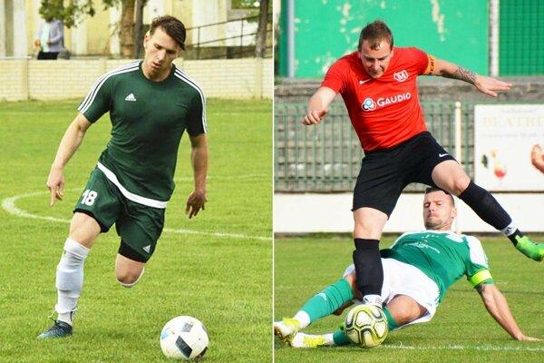 Štefan Molnár (vľavo) rozhodol o výhre Vlčian. Márk Mészáros (v červenom) prispel gólom k víťazstvu Malej Mače.