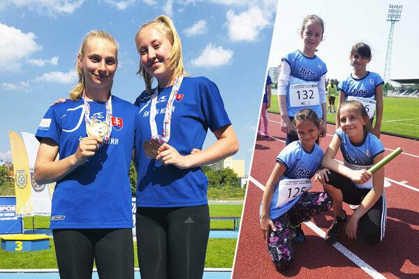 Andrea Švecová a Barbora Broďániová s medailami z M-SR vo viacboji. Vpravo nádeje AC Stavbár Nitra.