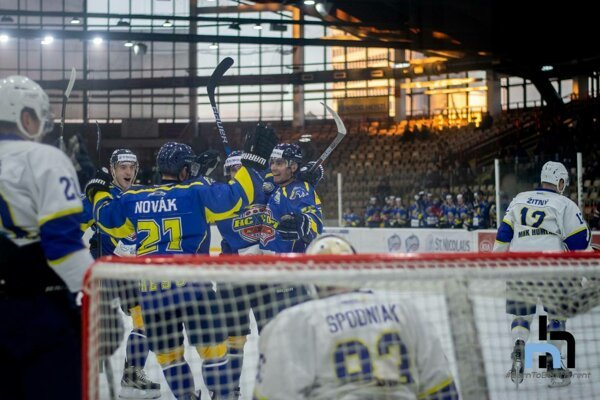 Na snímke je jedna z mála radostí, ktorú prešovskí hokejisti v uplynulej sezóne prežili.