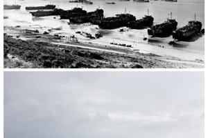 Pláž Omaha v júni 1944 a teraz.