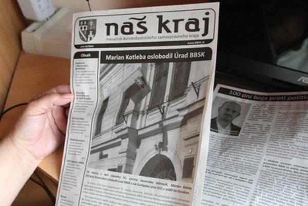 Krajské noviny banskobystrického kraja Náš kraj po nástupe Mariana Kotlebu zmenili nielen farbu dizajnu na webe z červeného na čierny, ale aj obsah, ktorý pripomína noviny z obdobia Slovenského štátu.