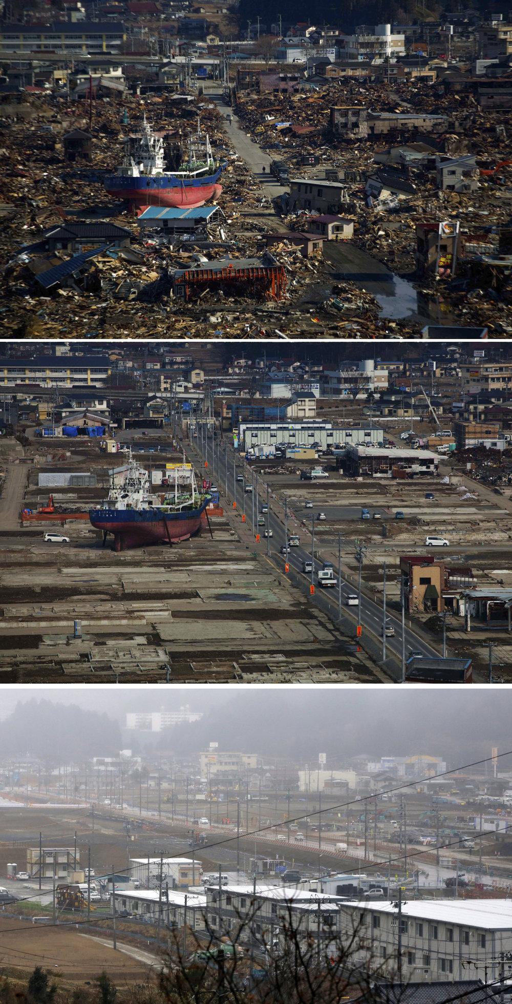 Záber po tsunami v roku 2011, miesto v roku 2012 a dnes.