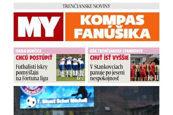 V pondelok bude súčasťou novín pravidelná futbalová príloha Kompas fanúšika.