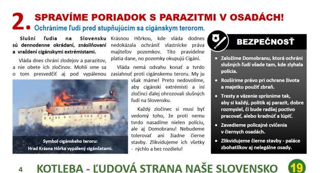 Druhý bod volebného programu strany Mariana Kotlebu útočí na Rómov.
