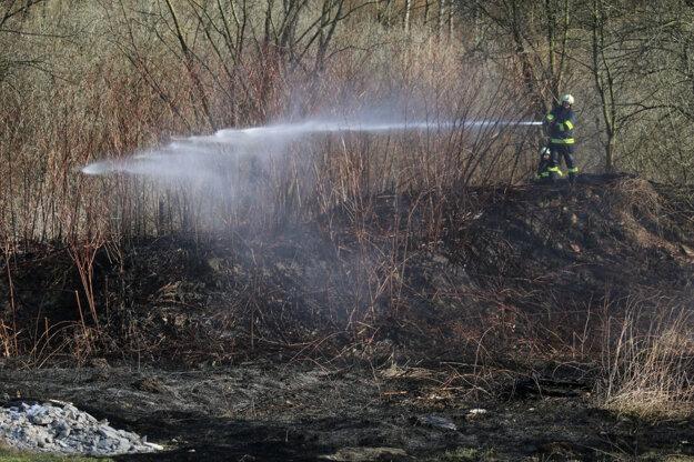 Požiar na okraji Kremnice sa našťastie na stromy ani na domy nerozšíril.