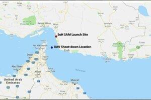 Irán zverejnil súradnice zostrelenia dronu.