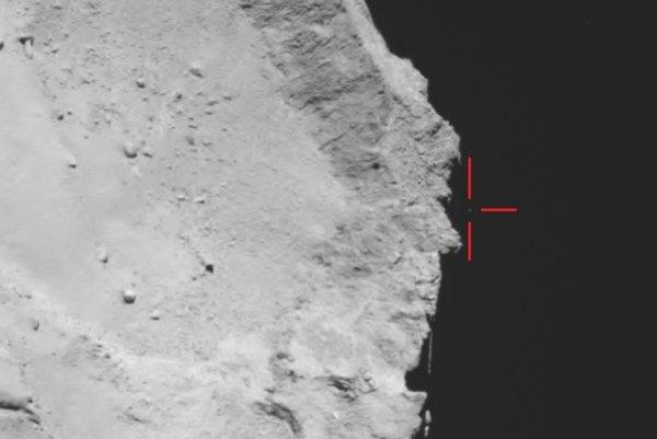 Snímka landera Philae po tom, ako odskočil od povrchu 67P.