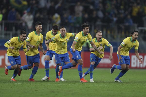 Futbalisti Brazílie po postupe do semifinále Copa America 2019.