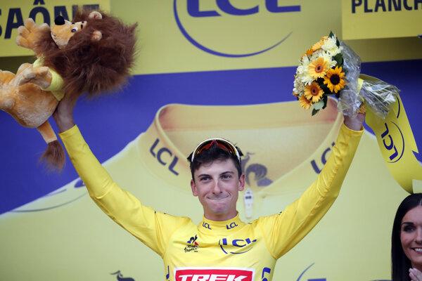Giulio Ciccone v žltom drese pre celkového lídra po 6. etape Tour de France 2019.
