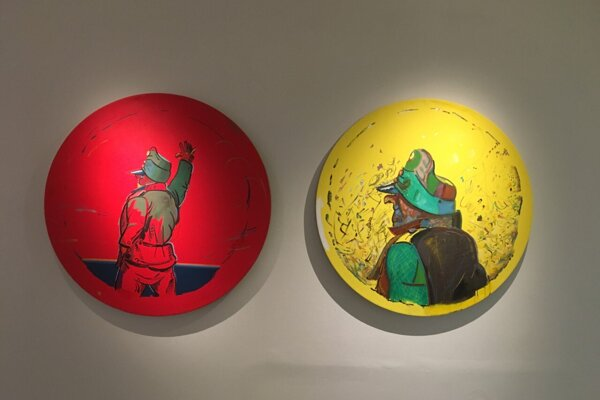 Dielo Mareka Medunu, ktorý premaľováva vojaka Švejka, na výstave Orient 2 v Kunsthalle Bratislava.