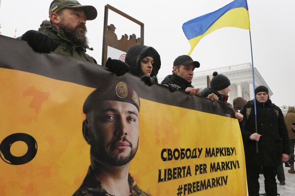 Demonštrácia na podporu Vitalija Markiva v Kyjeve v marci 2018.