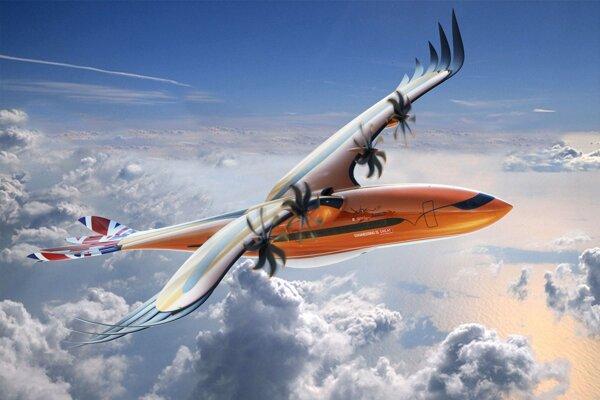 """Návrh lietadla Bird of Prey spoločnosti Airbus. Bude mať ohnuté špičky krídel so samostatne ovládaným """"perím""""."""