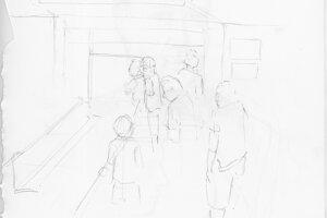 Ako vznikali kresby. Ilustrátorka sa začala rozcvičovať už počas čakania pred vchodom do budovy súdu.