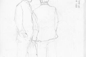 Ako vznikali kresby. Náčrt účastníkov pojednávania pred vstupom do súdnej siene.