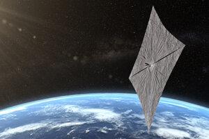 Umelecká predstava o slnečnej plachetnici LightSail 2 s rozvinutou plachtou na obežnej dráhe Zeme.