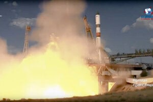Štart ruskej bezpilotnej kozmickej lode Progress, ktorá privezie zásoby pre posádku Medzinárodnej vesmírnej stanice, z kozmodrómu Bajkonur v Kazachstane 31. júla 2019.