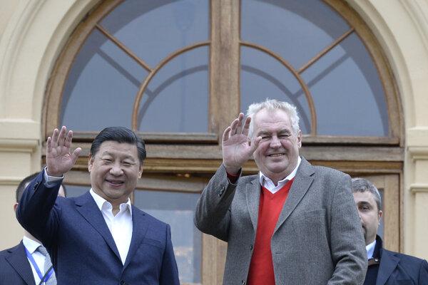 Čínsky prezident s českým kolegom.