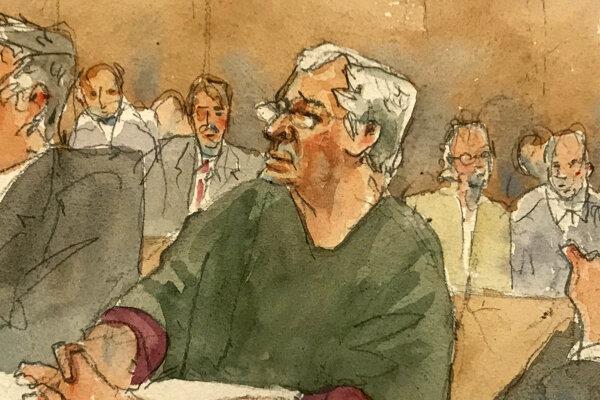 Jeffrey Epstein na obrázku zo súdnej siene.