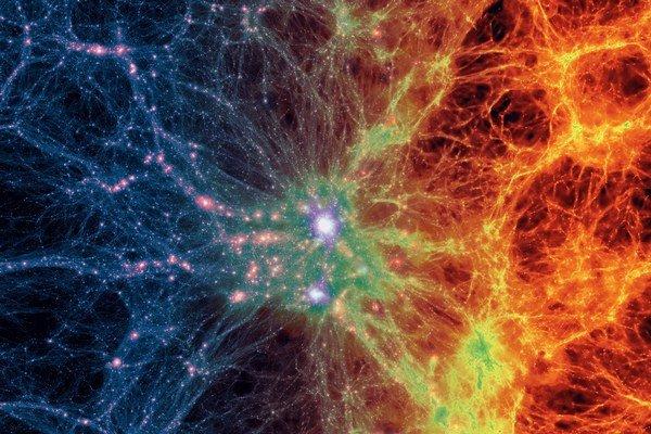 Nový počítačový model znázorňuje galaxie aj pavučinu tmavej hmoty. A ráta i s vybuchujúcimi hviezdami a čiernymi dierami.