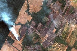 Satelitné zábery na požiar v v Amazónii.